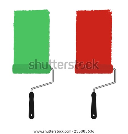 Green and red color paint roller with trace of paint. Vector clip art illustration isolated on white - stock vector