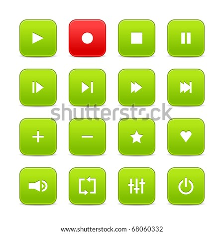Green and red 16 media control web 2.0 buttons. Rounded square shapes with shadow on white - stock vector