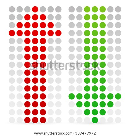 Green and red, up and down arrow. Vector. - stock vector