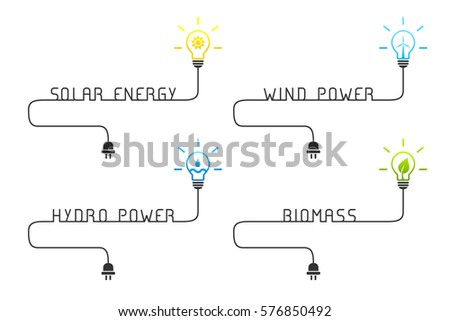 Green And Renewable Energy Sources Concept With Light Bulb Wire Solar Wind
