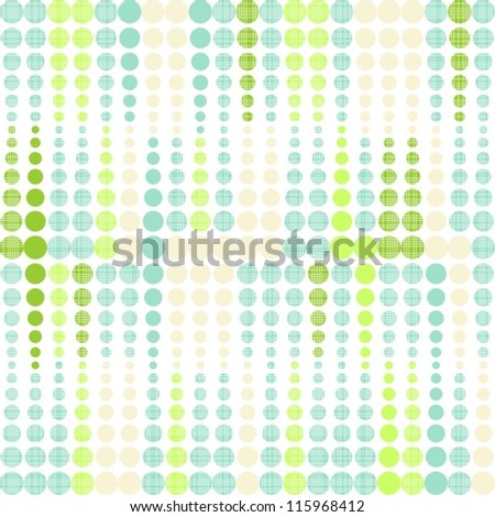 green and turquoise seamless geometric pattern with rows of dots - stock vector