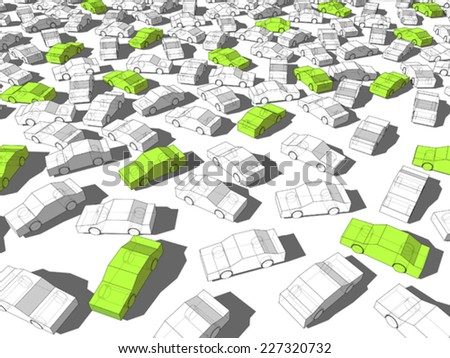 Green and white cars - stock vector