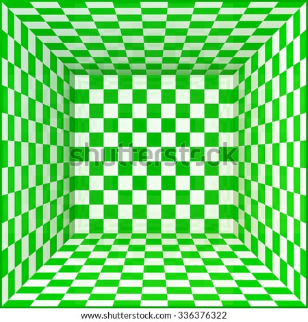 Green and white chessboard walls vector room background - stock vector