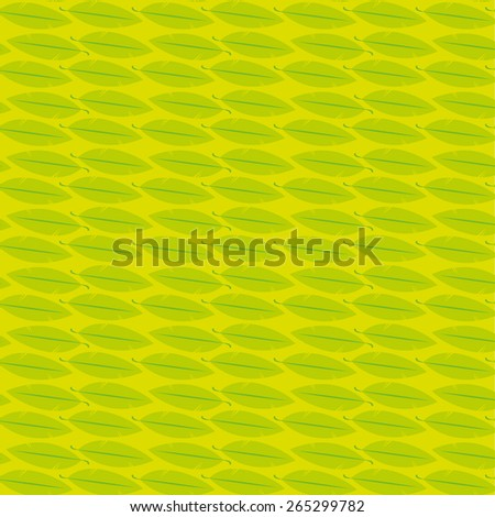 Green and yellow feather seamless pattern. Vector image. - stock vector