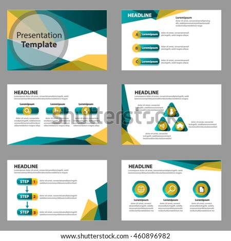 green yellow multipurpose presentation template flat stock vector, Powerpoint templates