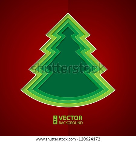 Green and yellow paper cutout christmas tree on deep red background