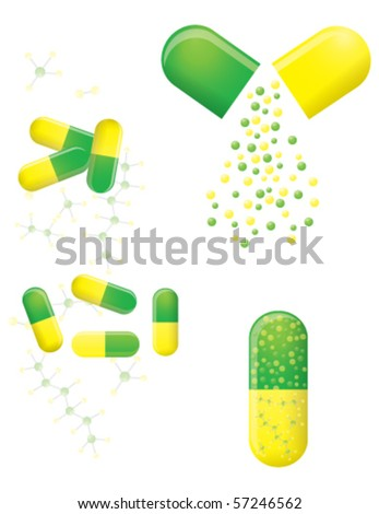 Green and yellow pills, vector EPS 10 - stock vector