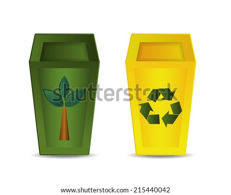 Green and Yellow Recycle Bin Vector