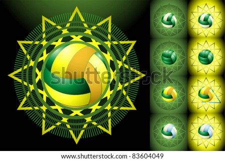 Green and yellow volleyballs on the halftone background - stock vector