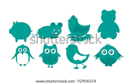 Green animal icons, isolated over white background.vector illustrator - stock vector