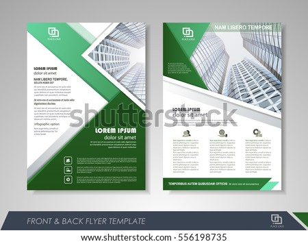 Green annual report brochure flyer design stock vector for Magazine storyboard template