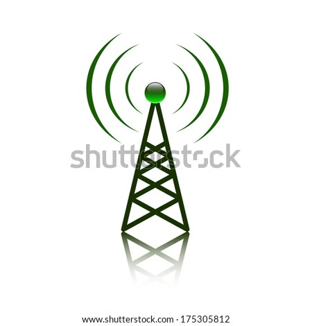 Green antenna mast sign on white - stock vector