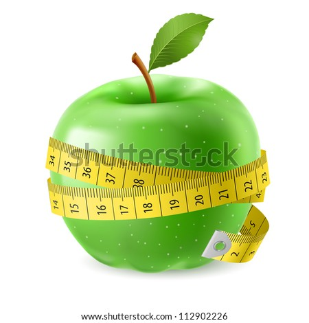 Green apple and measure tape. Illustration on white background - stock vector