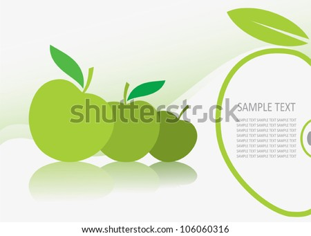 Green apple background - vector illustration - stock vector