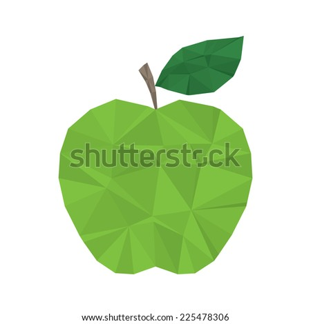 Green apple clean and modern minimal design - polygonal element no mesh no gradient - stock vector