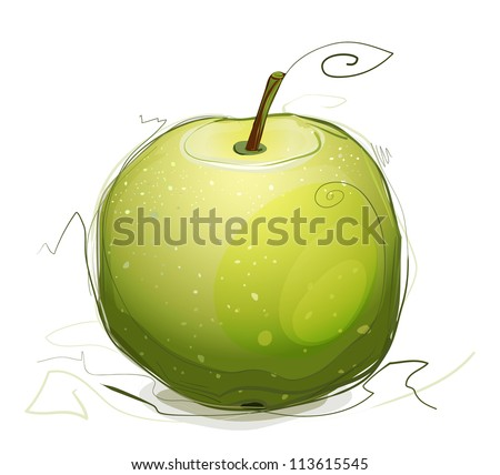 Green Apple Illustration. Vector EPS10 green apple illustration. Sketchy style.