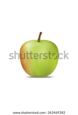 Green apple isolated. Vector Illustration - stock vector