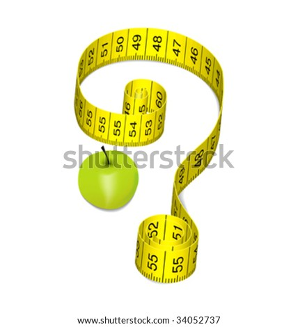 Green Apple on a diet with yellow ribbon - stock vector