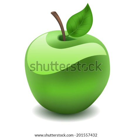 Green apple on a white background.Vector illustration - stock vector