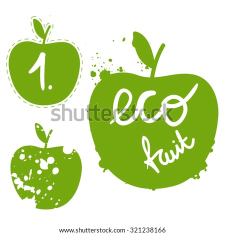 green apple silhouette vector