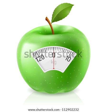 Green Apple With Scale for a Weighing Machine - stock vector