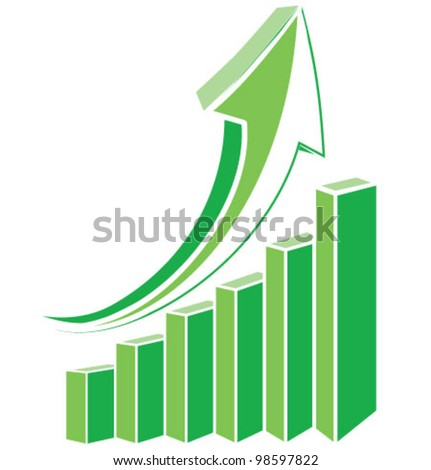 Green arrow diagram chart. Detailed vector illustration - stock vector
