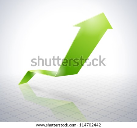 Green Arrow Graph - stock vector