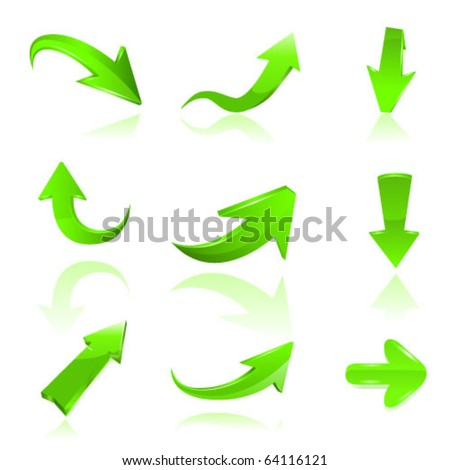 Green arrow icon set. Vectoe - stock vector
