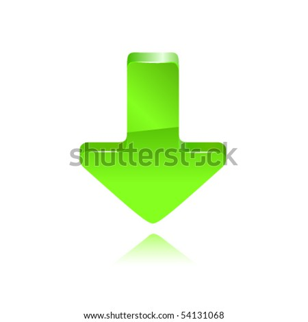 Green arrow moving down. Vector - stock vector