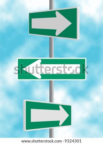 Green Arrow Road Signs Vector Background - stock vector