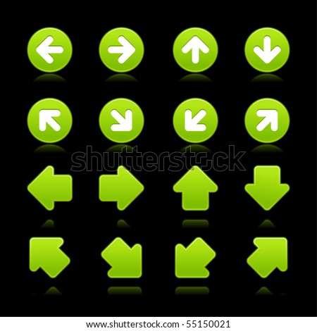 Green arrow sign web 2.0 button with color reflection on black background