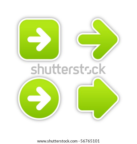 Green arrow sign web 2.0 buttons. Smooth colored stickers with shadow on white background. 10 eps - stock vector