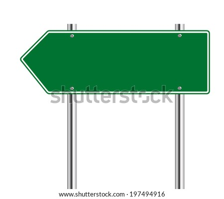 Green arrow to the left road sign on white