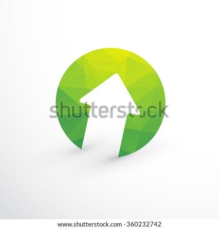 green arrow upward - stock vector