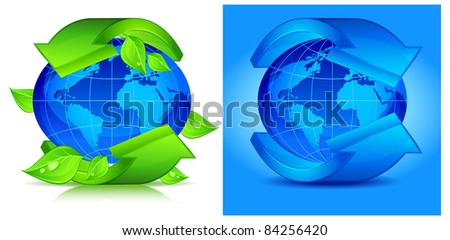Green arrows around blue planet, vector illustration