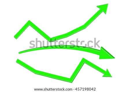 Green arrows. Rising or declining trend. Vector illustration isolated on white background - stock vector