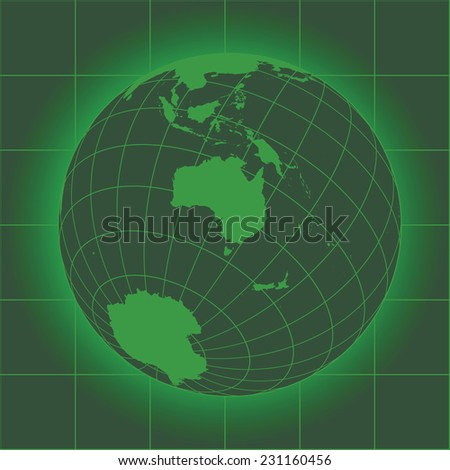 Green Australia map. Asia, Russia, Antarctica, North pole. Earth globe as seen in an old monitor. Elements of this image furnished by NASA - stock vector