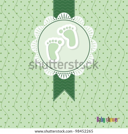 green baby shower card with footprint baby
