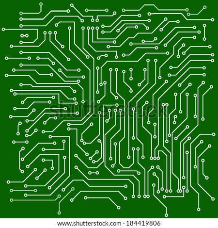 Green back plate Circuit board vector background - stock vector