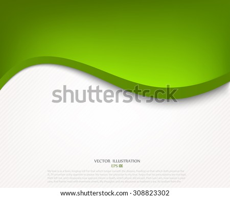 Green background curved line on white space shadow overlap and dimension modern texture pattern for text and message website design - stock vector