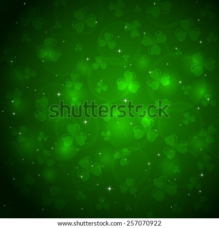 Green background of St. Patricks Day with clover and blurry lights, illustration.  - stock vector