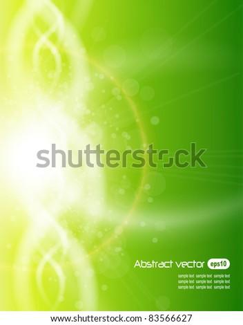 Green background, vector illustration. - stock vector