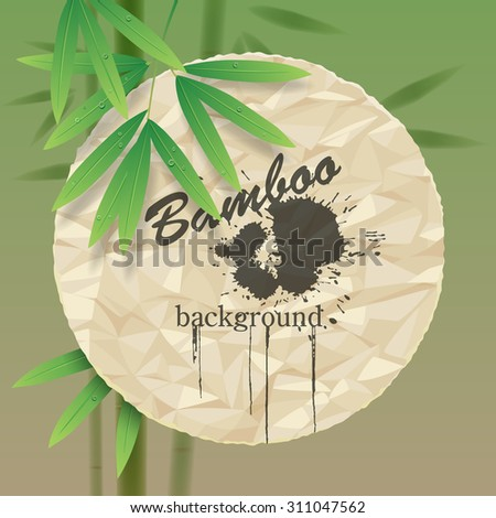 Green background with a crumpled paper round and bamboo stems and leaves. Vector illustration - stock vector