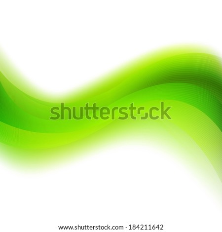 Green Background With Abstract Line And Blur, With Gradient Mesh, Vector Illustration - stock vector