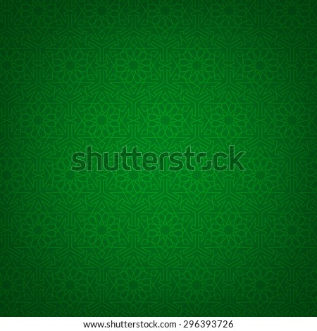 Green background with arabian geometric pattern. Islamic card - stock vector
