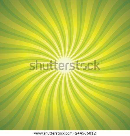 Green Background With Beams, Vector Illustration - stock vector