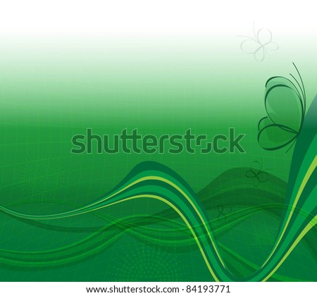 green background with butterfly