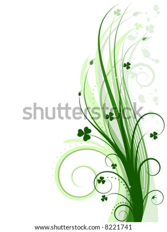 Green background with clovers -  vector illustration