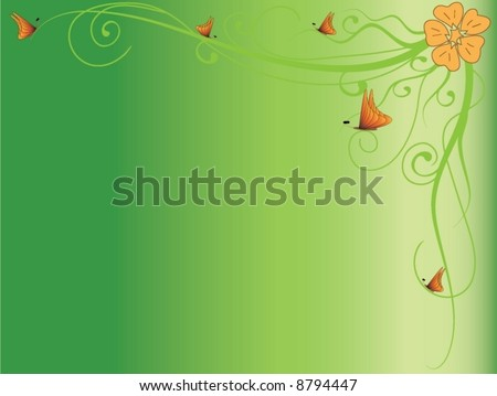 Green background with flower and butterfly