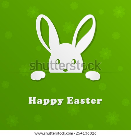 Green background with flower and white paper rabbit, illustration. - stock vector
